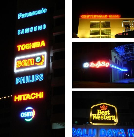 Neon light signboards Kota Kinabalu